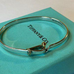 Silver & 18K Yellow Gold Hook Eye Bangle Bracelet
